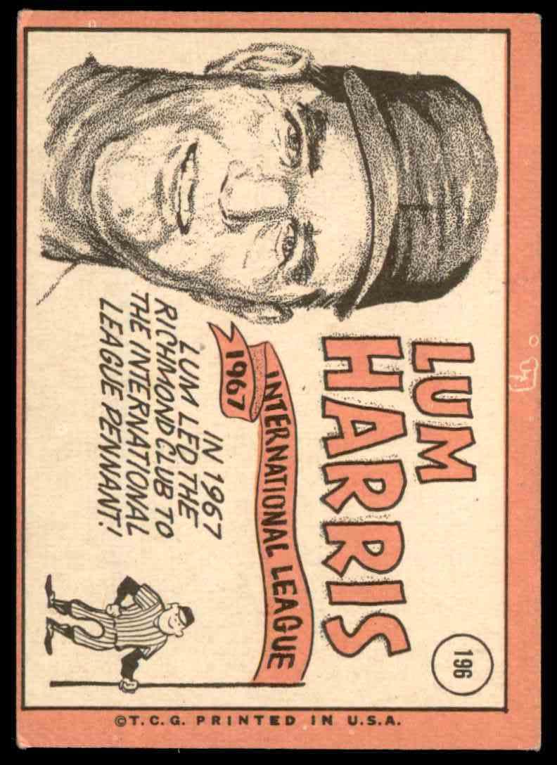 1969 Topps Lum Harris #196 card back image