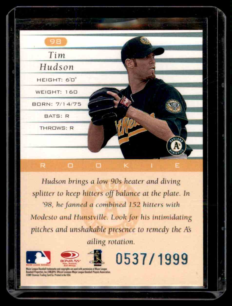 2001 Donruss 1999 Retro Tim Hudson #98 card back image
