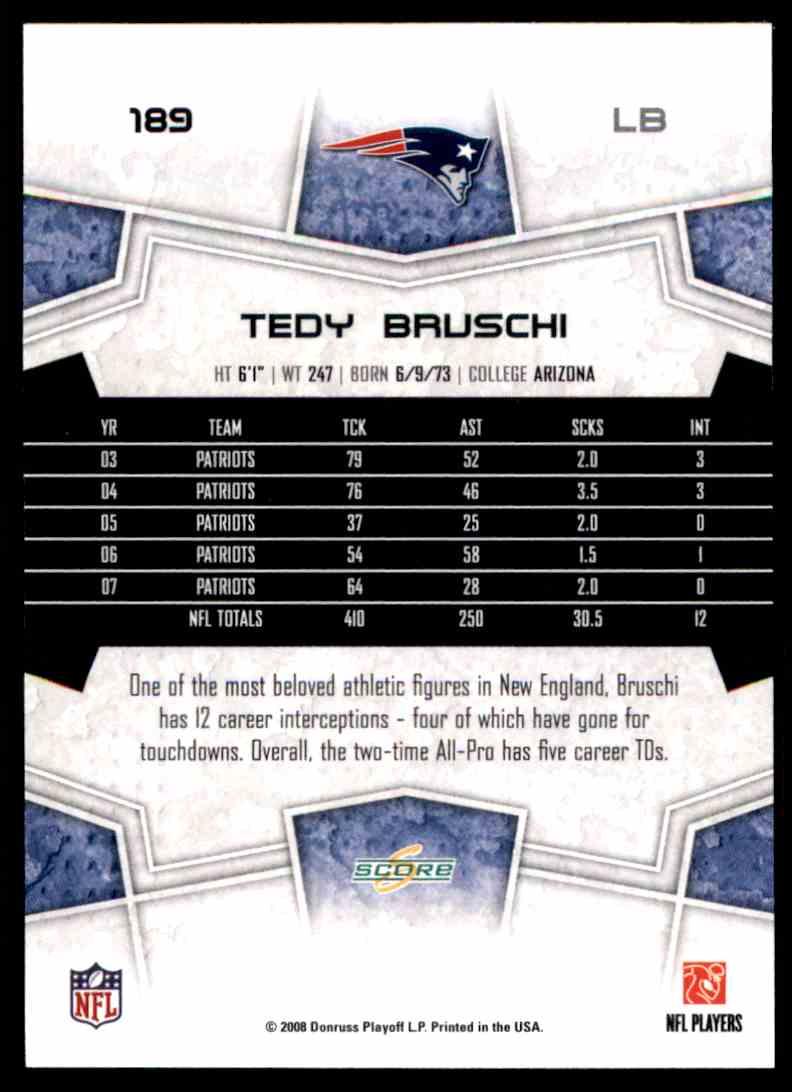 2008 Score Tedy Bruschi #189 card back image