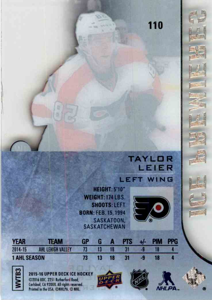 2015-16 Upper Deck Ice Ice Premiers Taylor Leier #110 card back image