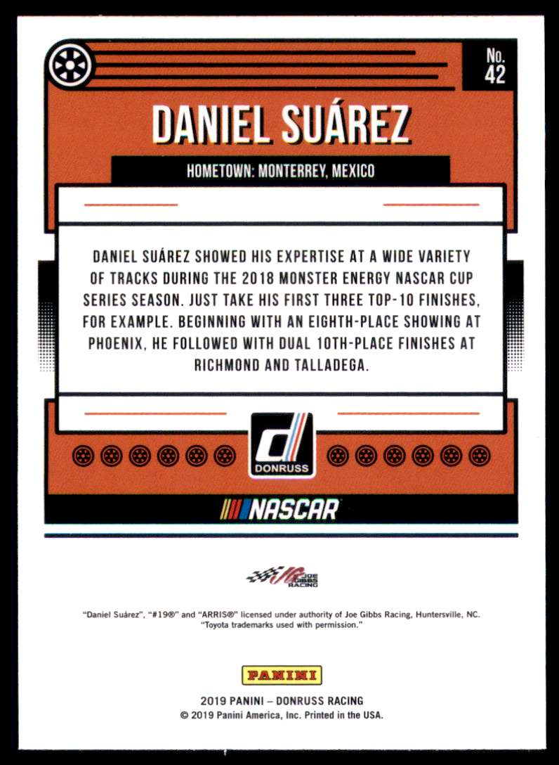 2019 Donruss Daniel Suarez #42 card back image