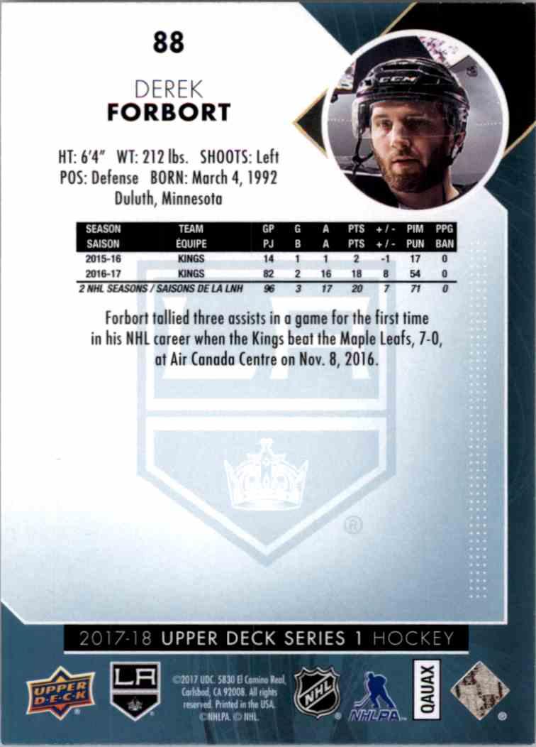 2017-18 Upper Deck Series 1 Derek Forbort #88 card back image