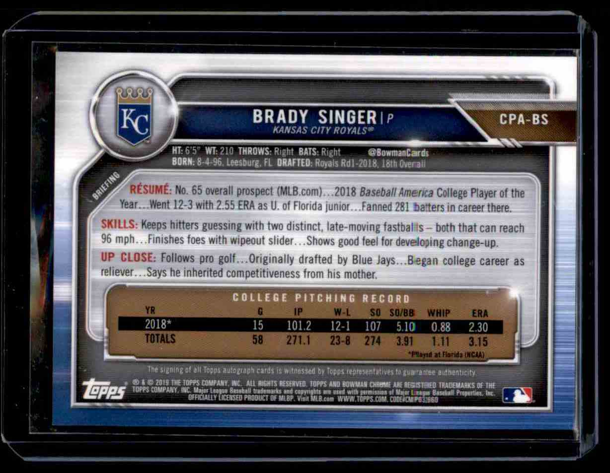 2019 Bowman Chrome Brady Singer card back image
