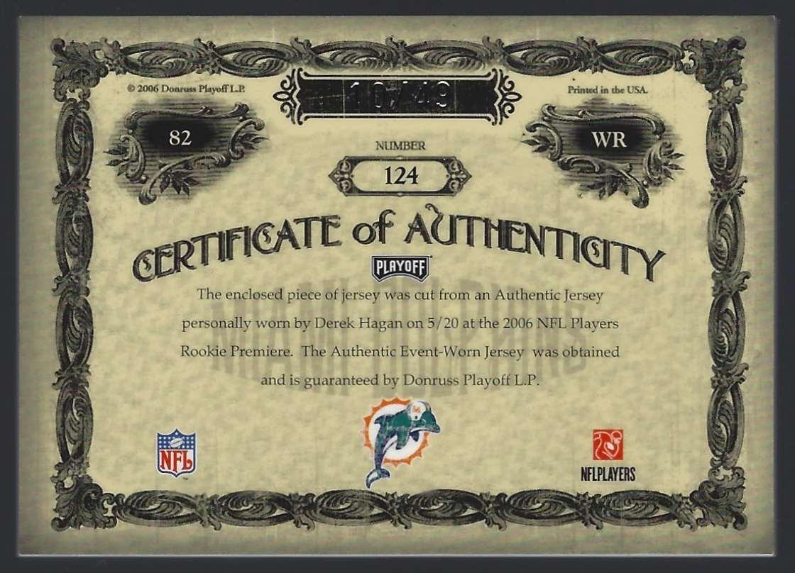 2006 Playoff National Treasures Rookie Signature Material Silver Derek Hagan #124 card back image