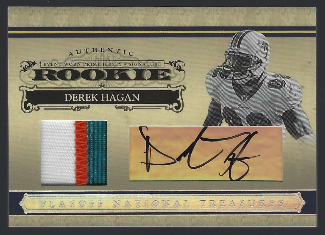 2006 Playoff National Treasures Rookie Signature Material Silver Derek Hagan #124 card front image