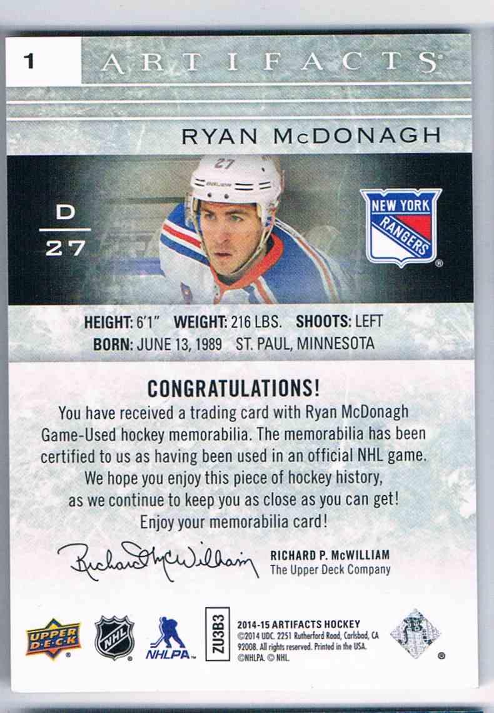 2014-15 Upper Deck Artifacts Dual Jerseys Ryan McDonaugh #1 card back image
