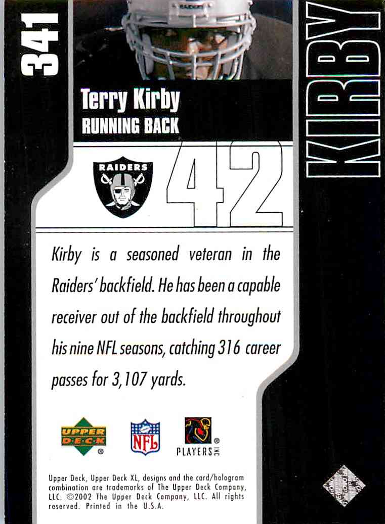 2002 Upper Deck Xl Holofoil Terry Kirby #341 card back image