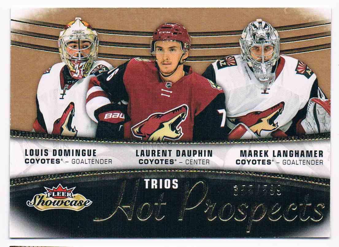 2015-16 Fleer Showcase Louis Domingue Laurent Dauphin Marek Langhamer #115 card front image