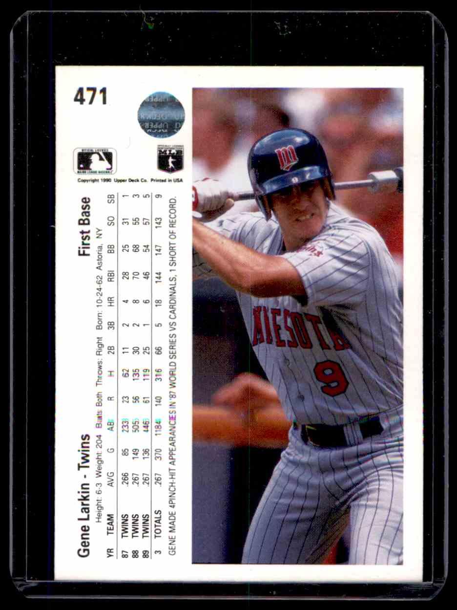 1990 Upper Deck Autograph Gene Larkin #471 card back image
