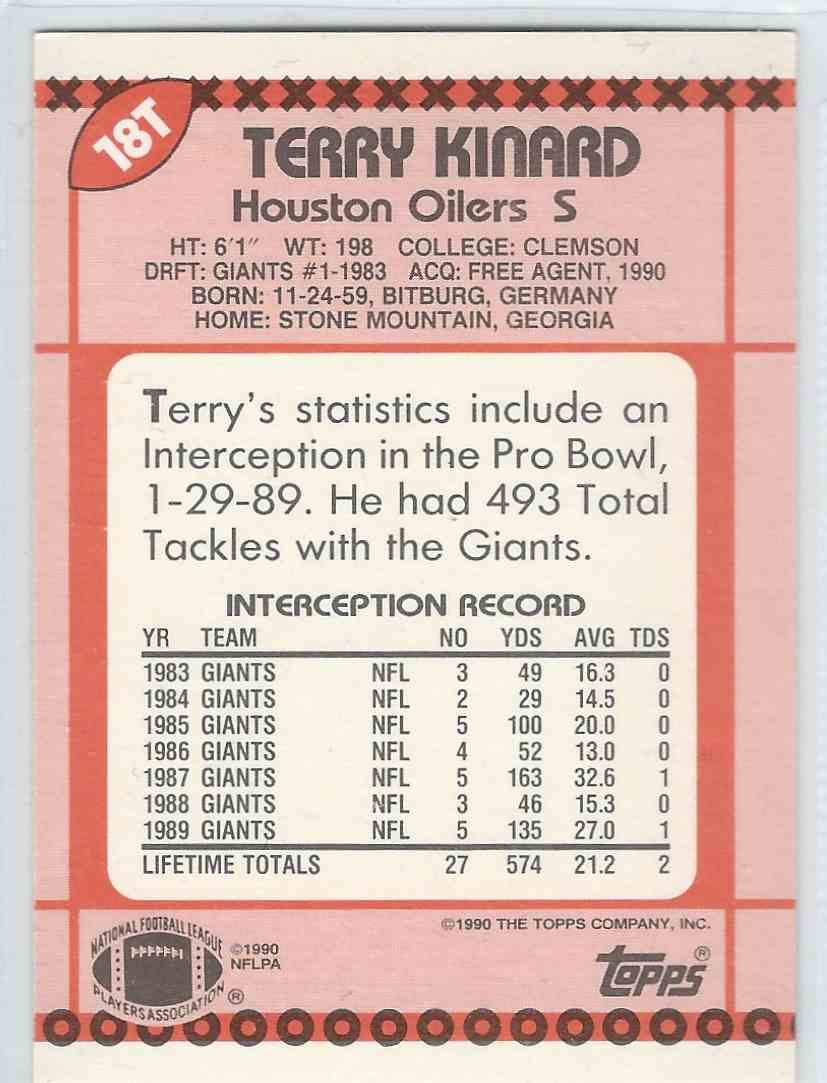 1990 Topps Traded Terry Kinard #18T card back image