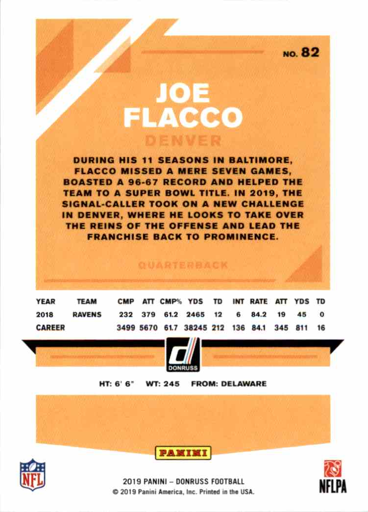 2019 Panini Donruss Joe Flacco #82 card back image