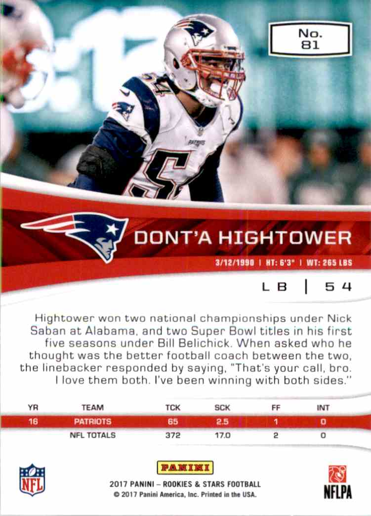 2017 Rookies And Stars Dont'a Hightower #81 card back image