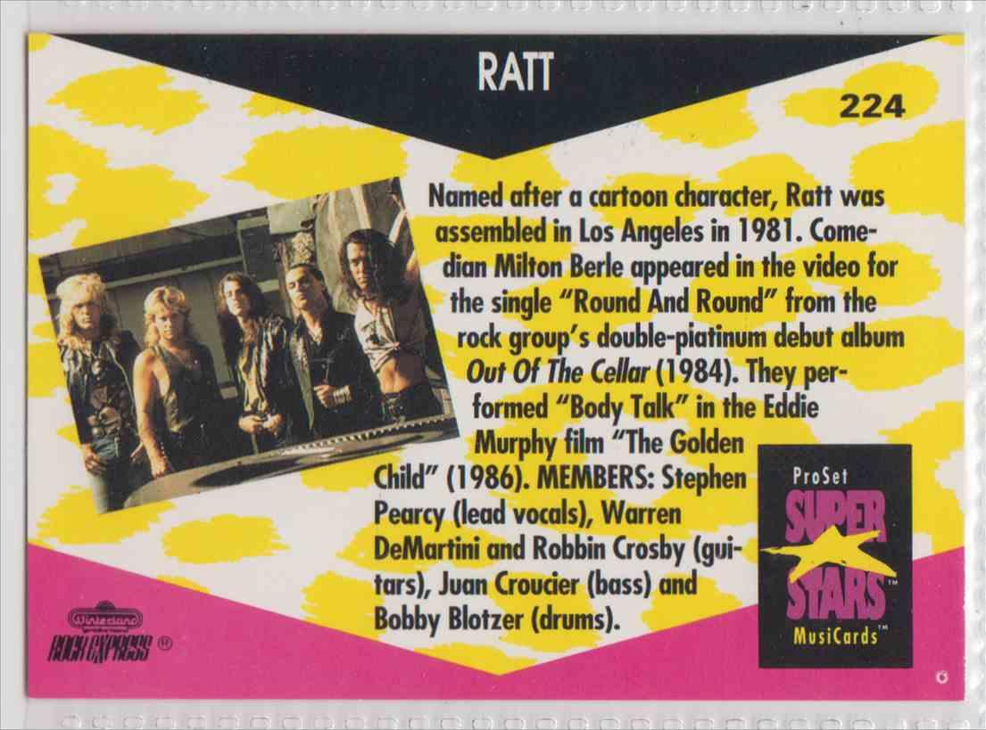 1991 Pro Set SuperStars MusiCards Ratt #224 card back image