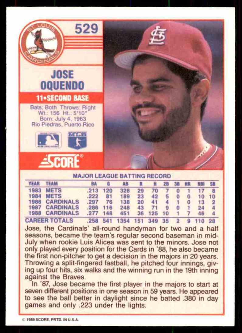 1989 Score Regular Jose Oquendo #529 card back image
