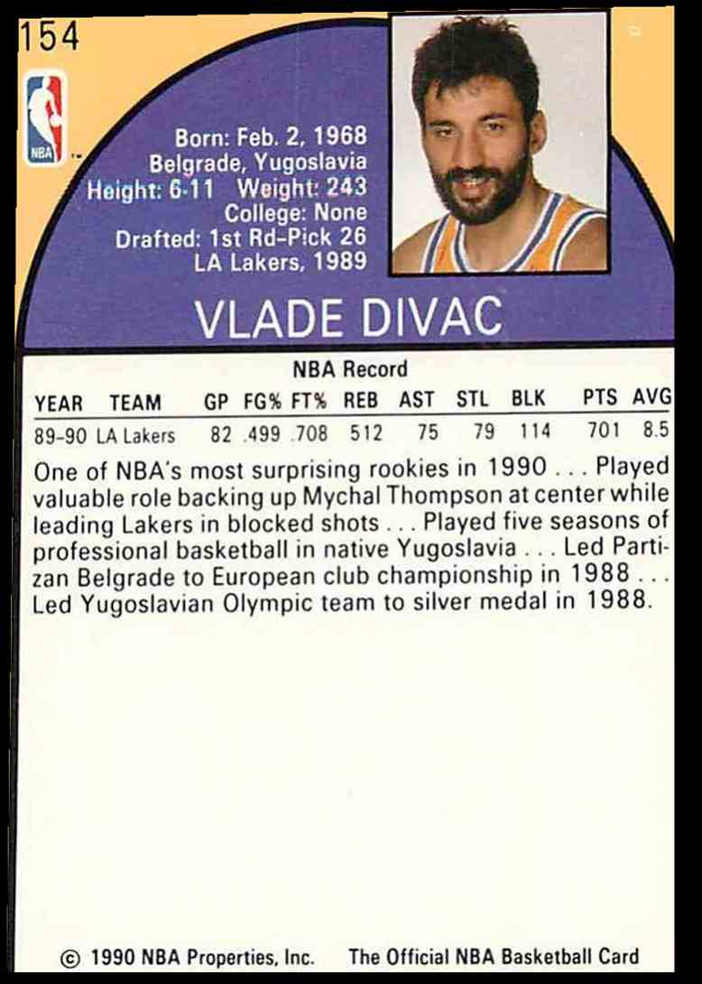 1990-91 NBA Hoops Vlade Divac #154 card back image