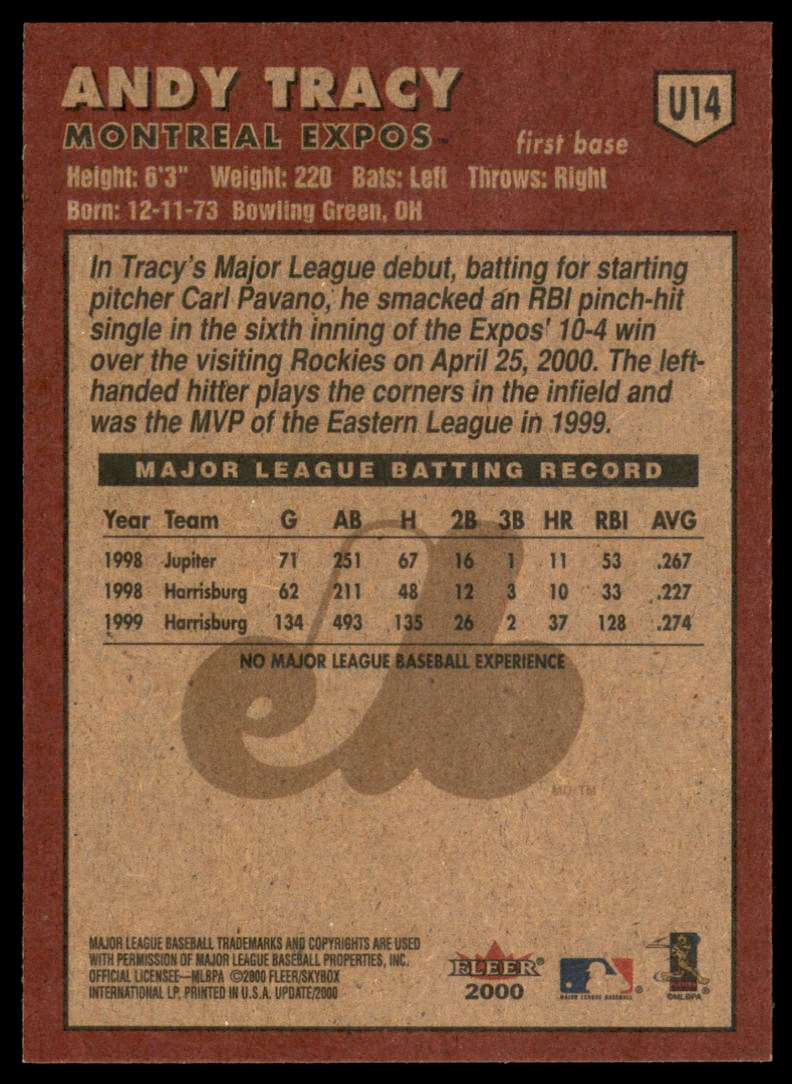 2000 Fleer Tradition Update Andy Tracy RC #U14 card back image
