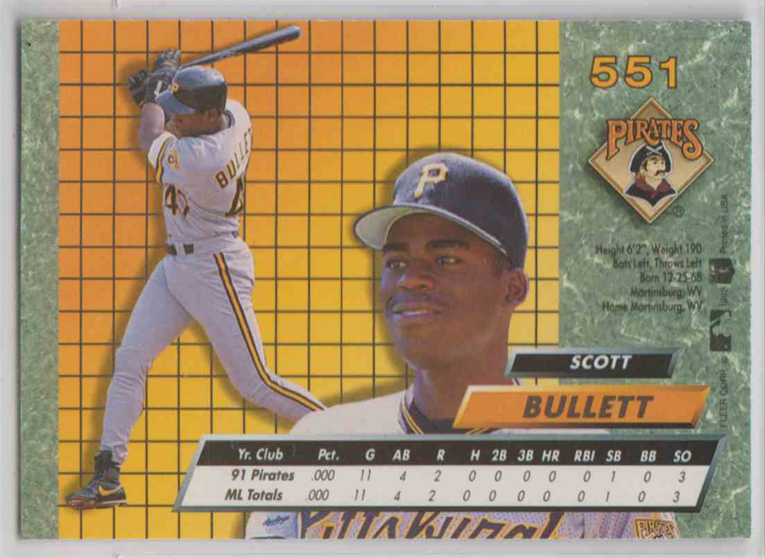 1992 Fleer Ultra Scott Bullett #551 card back image
