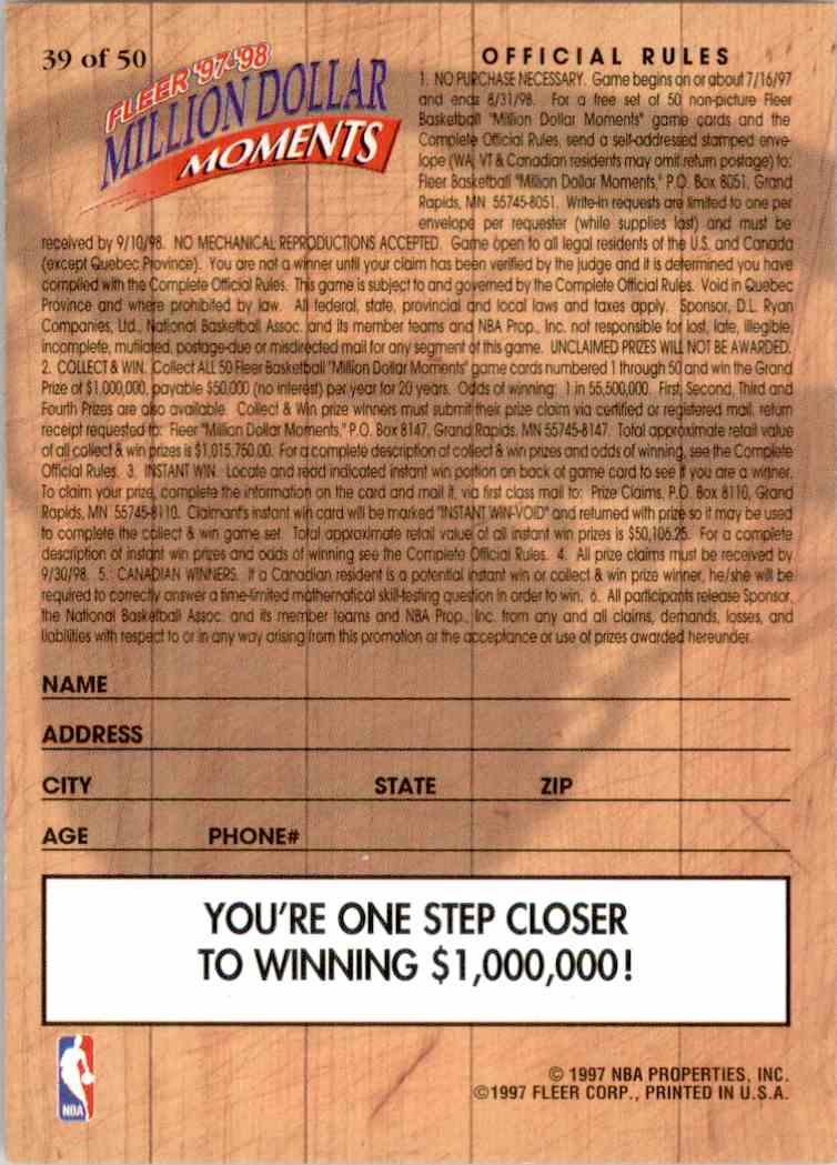 1997-98 Fleer Million Dollar Moments Larry Johnson #39 card back image