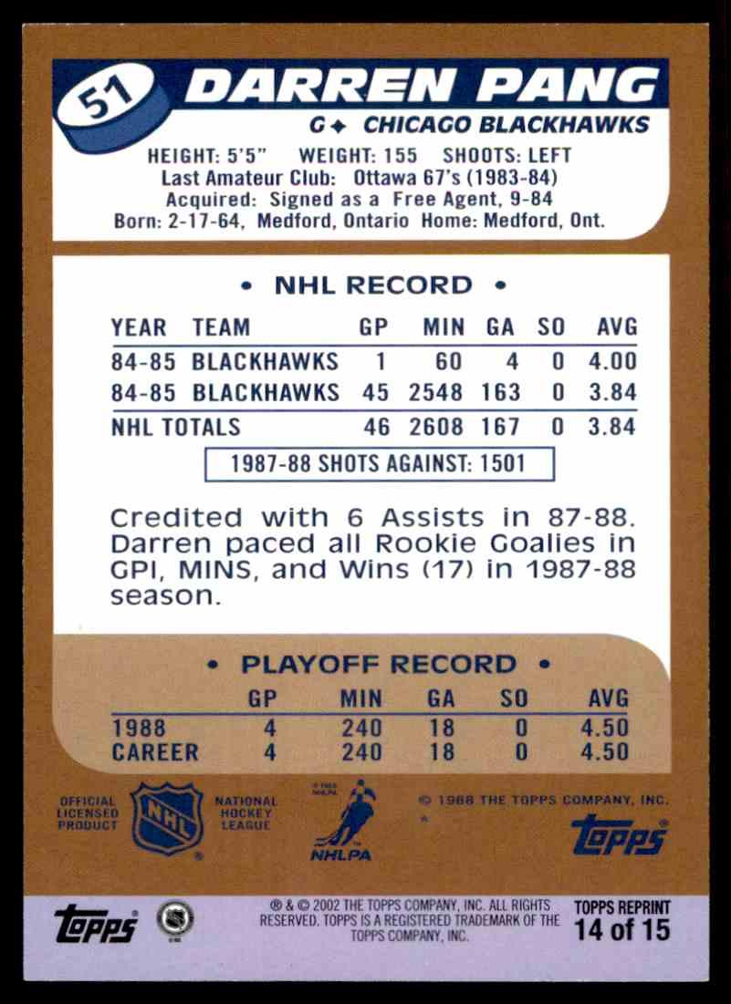 2002-03 Topps Rookie Reprint Darren Pang #14 card back image