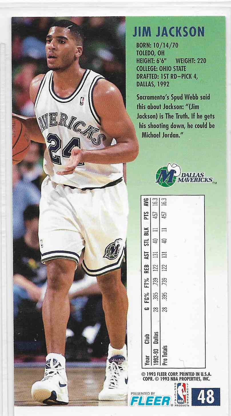 1993-94 Fleer NBA Jam Session Jim Jackson #48 card back image