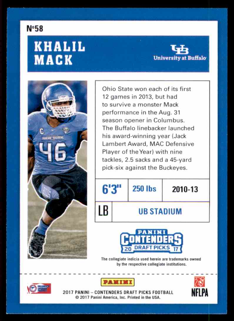 2017 Panini Contenders Draft Picks Khalil Mack #58 card back image