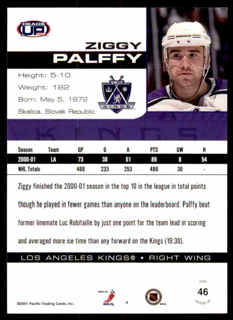2001-02 Heads Up Zigmund Palffy #46 card back image