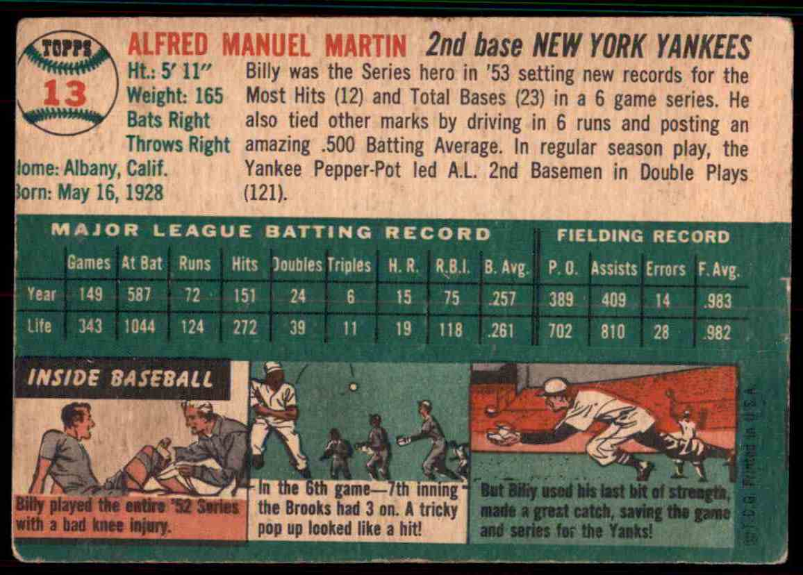 1954 Topps Billy Martin #13 card back image