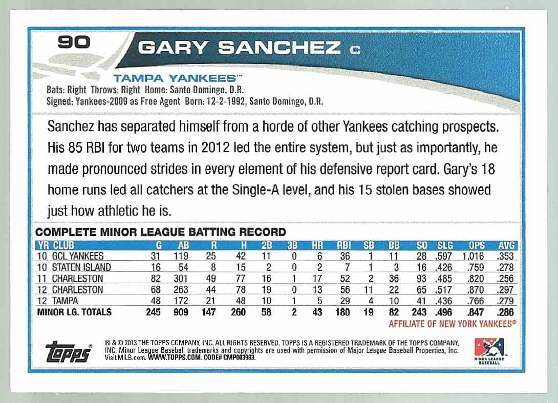 2013 Topps Pro Debut Gary Sanchez #90 card back image