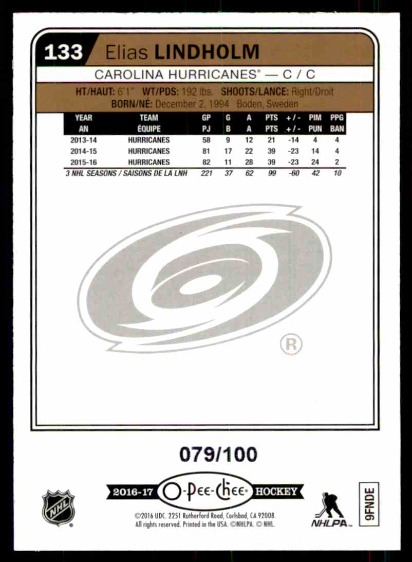 2016-17 O-Pee-Chee Rainbow Black Elias Lindholm #133 card back image