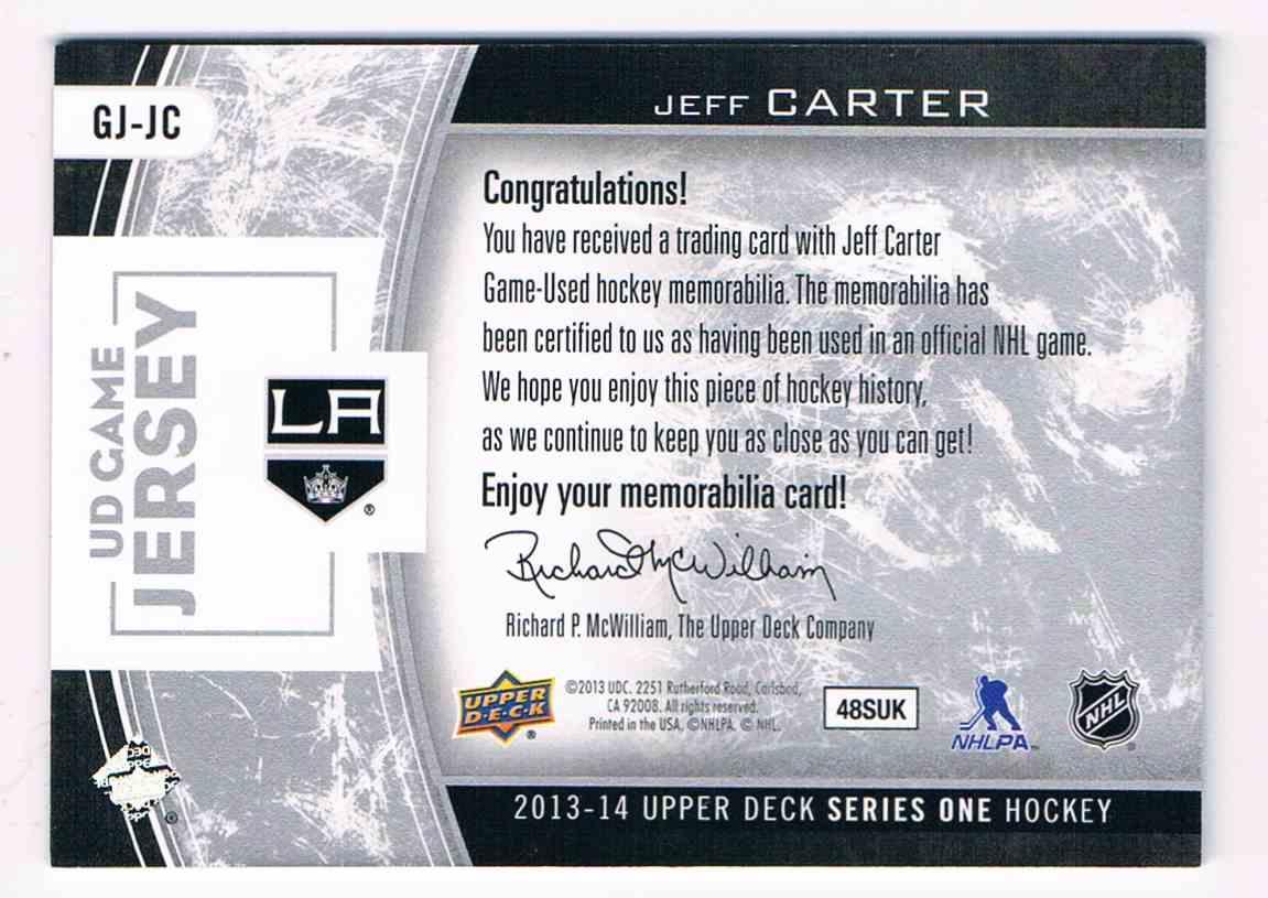 2013-14 Upper Deck Series One Jeff Carter #GJ-JC card back image
