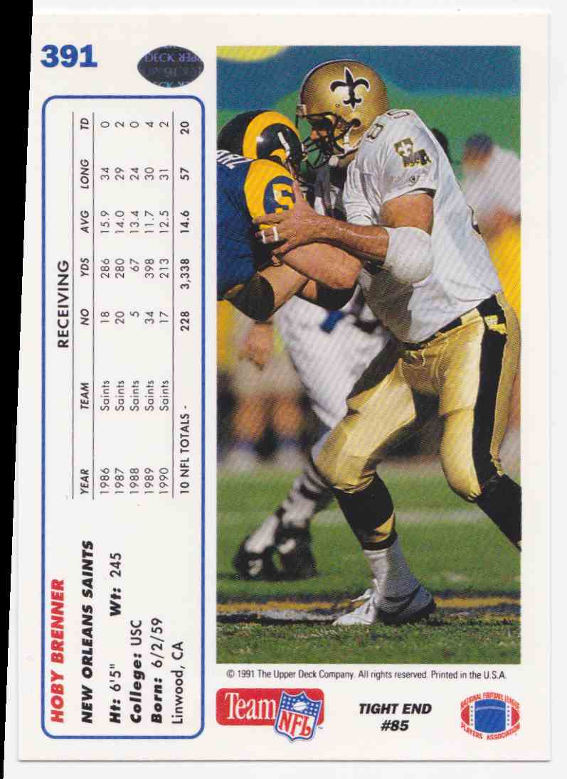1991 Upper Deck Hoby Brenner #391 card back image