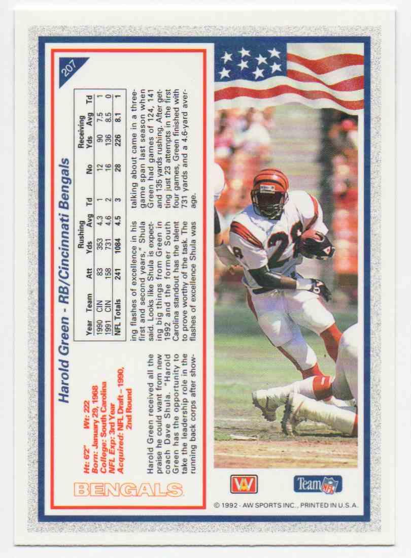 1992 All World Harold Green #207 card back image