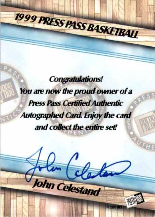 1999-00 Press Pass Authentics Autographs John Celestand card back image
