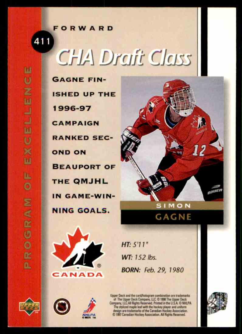 1997-98 Upper Deck Program Of Excellence Simon Gagne #411 card back image