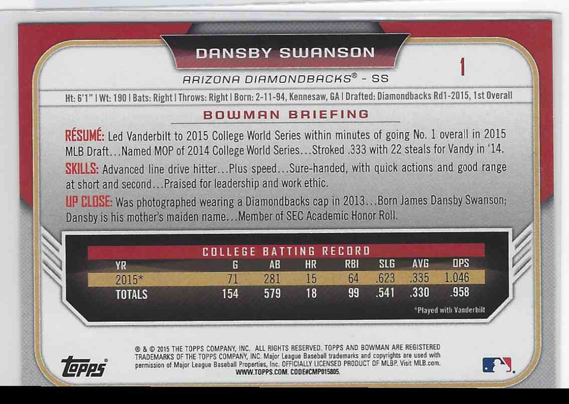 2015 Bowman Dansby Swanson #1 card back image