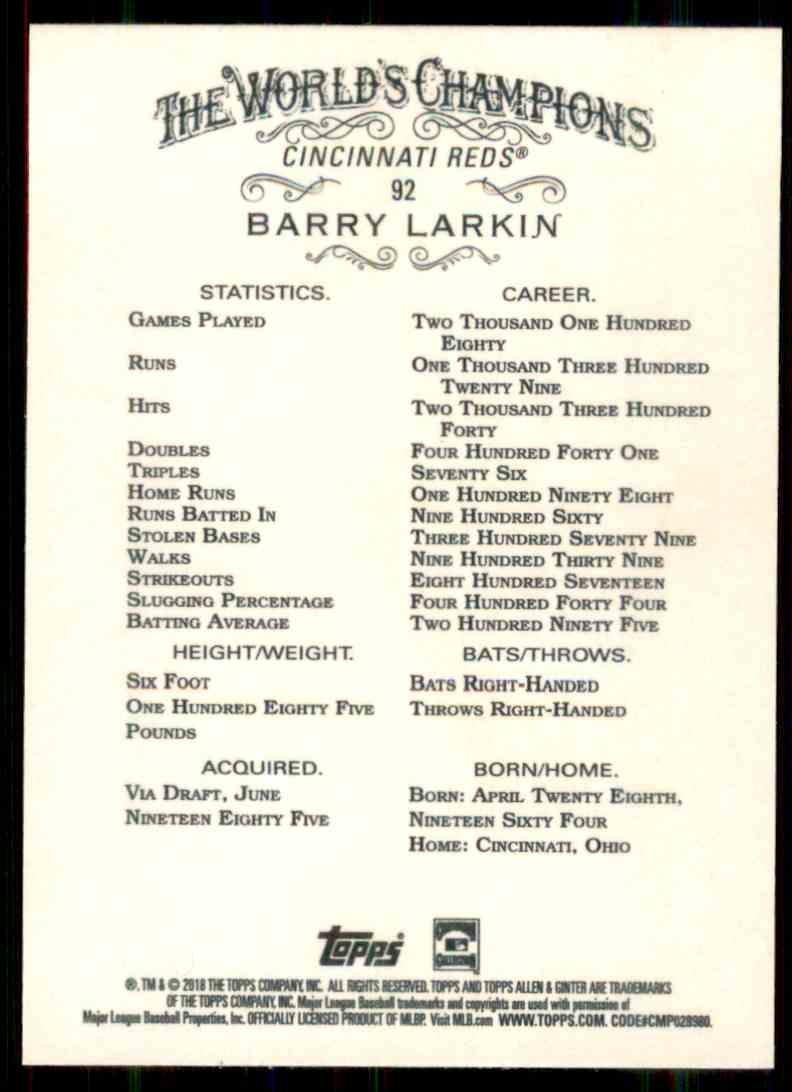 2018 Topps Allen & Ginter Barry Larkin #92 card back image