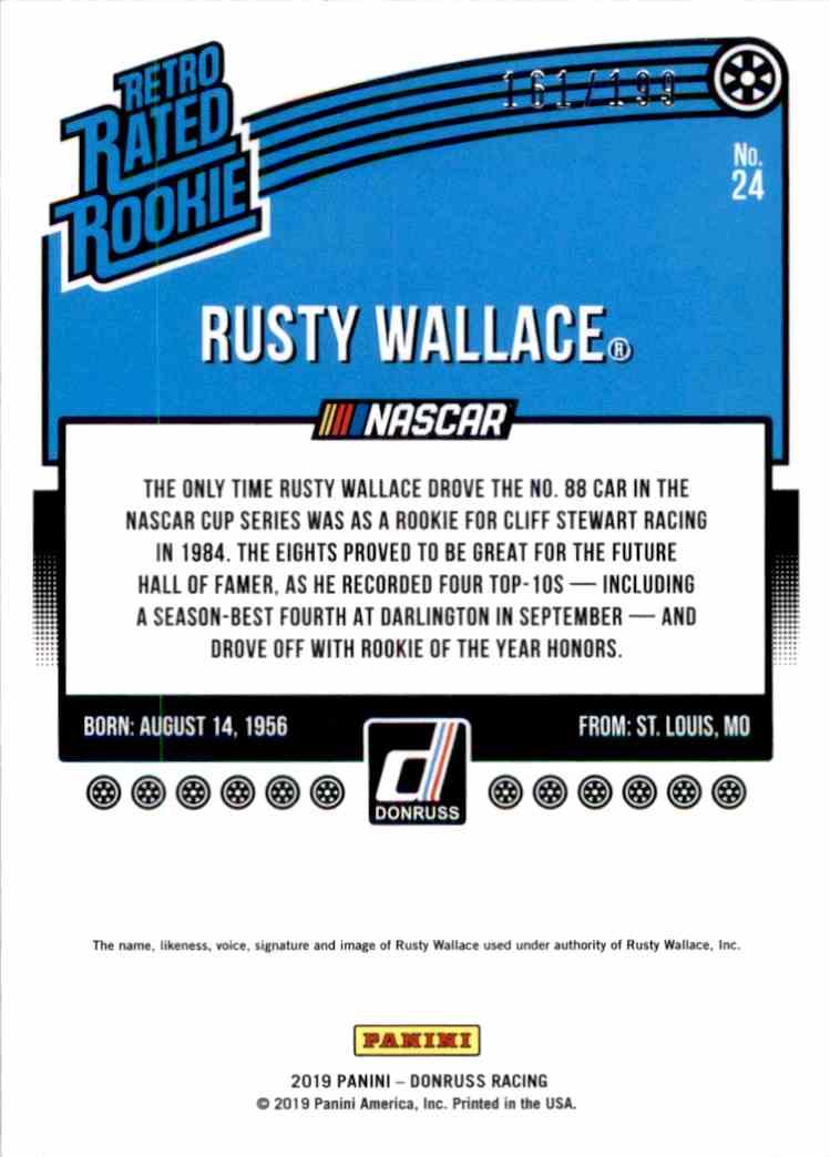2019 Donruss Black Rusty Wallace Ret Rr #24 card back image
