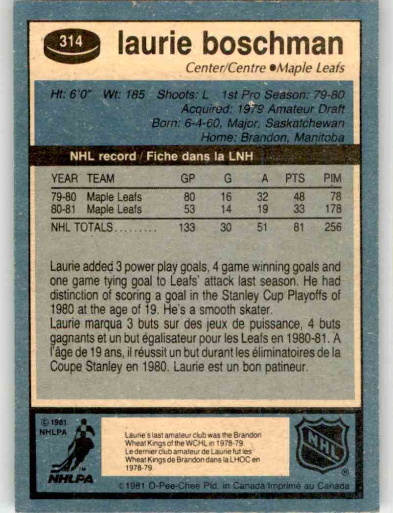 1981-82 O-Pee-Chee Laurie Boschman #314 card back image