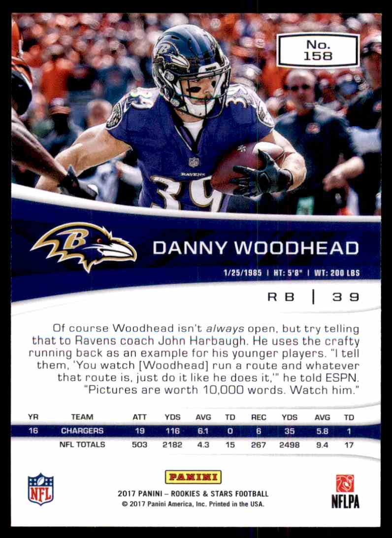 2017 Rookies And Stars Danny Woodhead #158 card back image