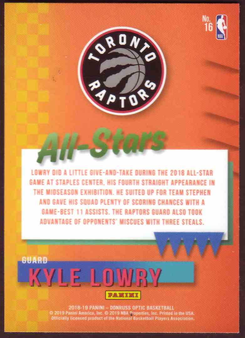 2018-19 Donruss Optic All Stars Kyle Lowry #10 card back image