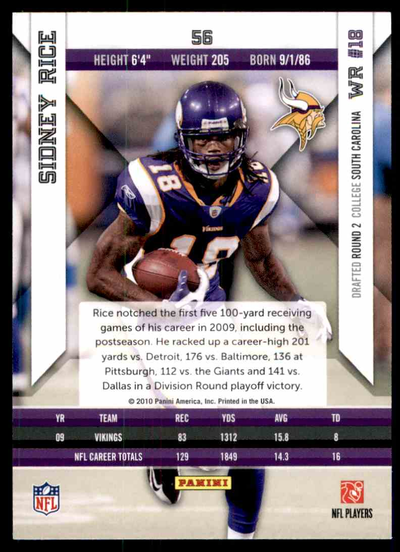 2010 Epix Sidney Rice #56 card back image