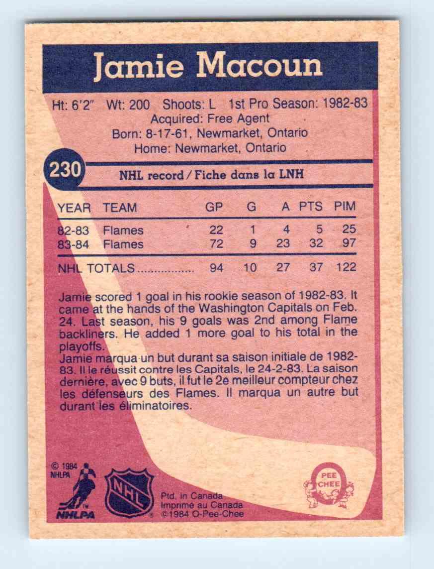 1984-85 O-Pee-Chee Jamie Macoun #230 card back image