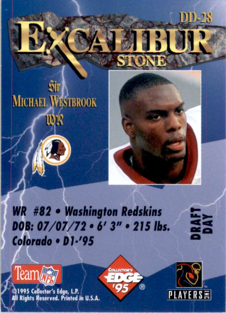 1995 Excalibur Challengers Draft Day Rookie Redemption Prizes Michael Westbrook #DD28 card back image