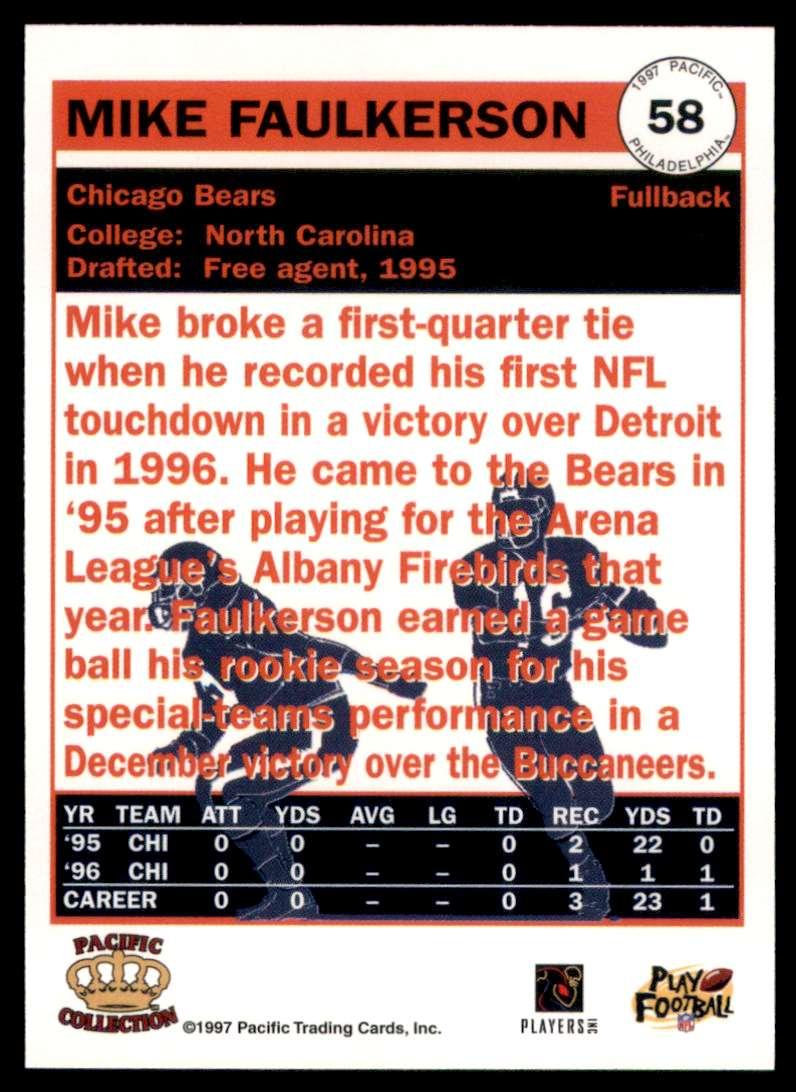 1997 Pacific Philadelphia Mike Faulkerson #58 card back image