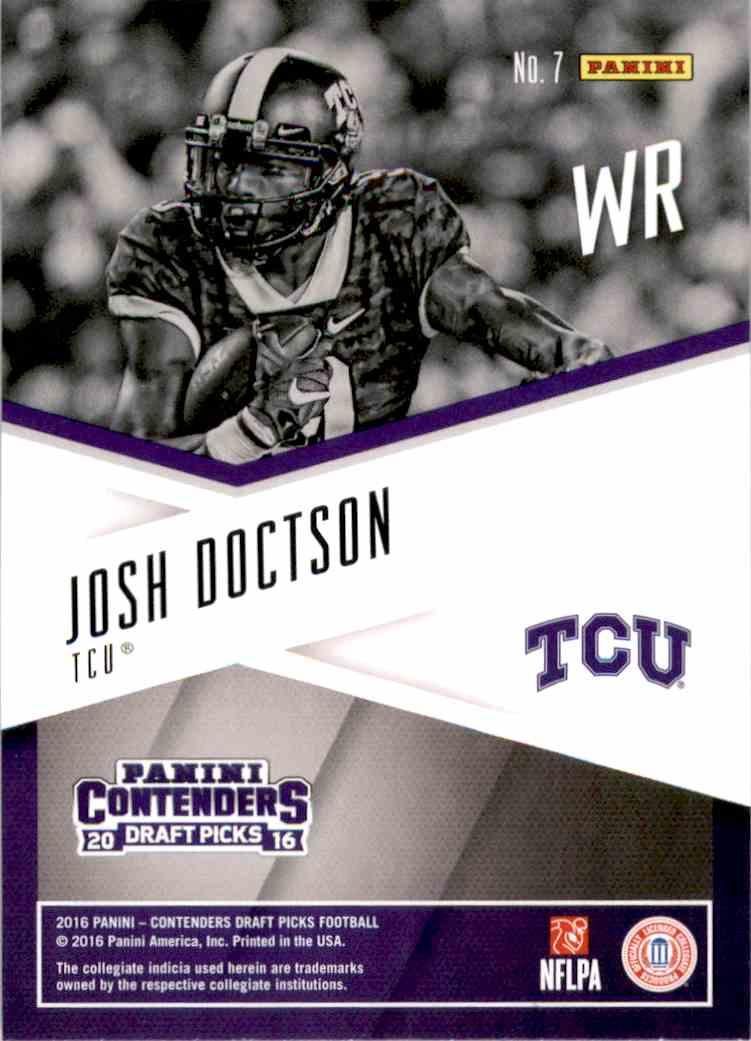 2016 Panini Contenders Draft Picks School Colors Josh Doctson #7 card back image