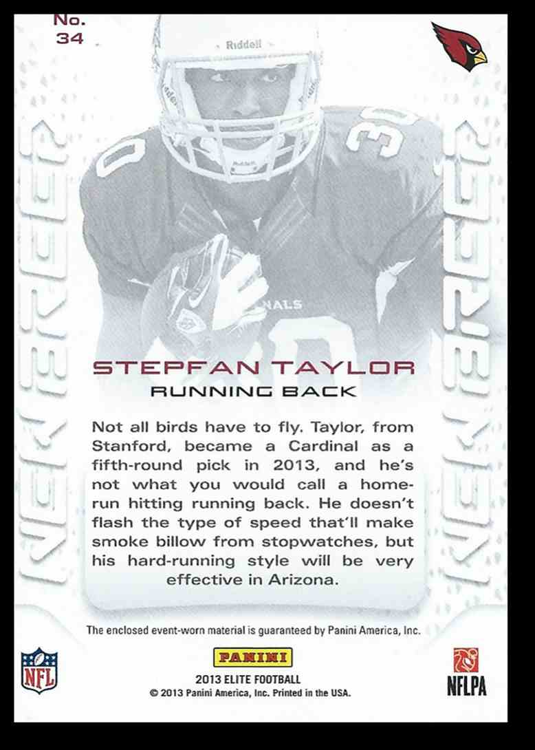 2013 Panini Elite Stepfan Taylor #34 card back image