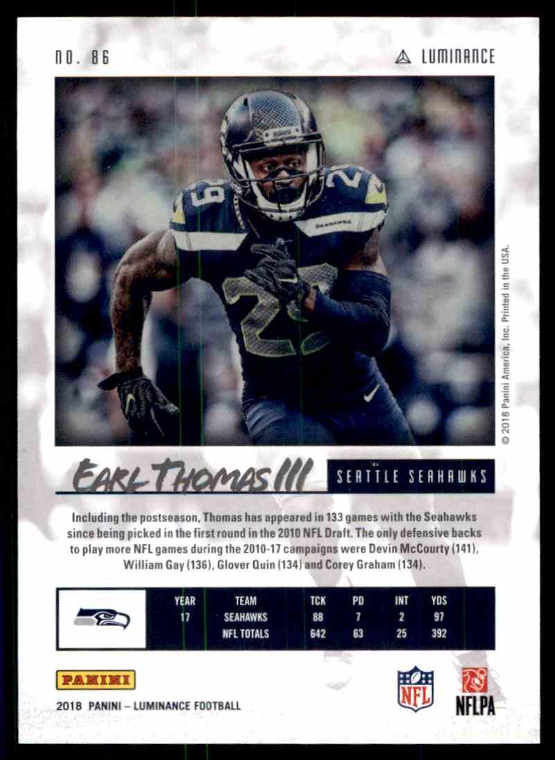 2018 Luminance Blue Earl Thomas card back image
