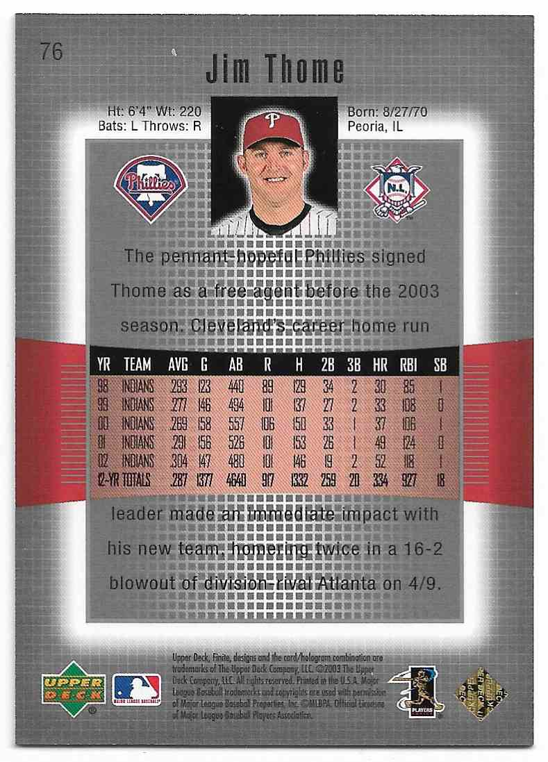 2003 Upper Deck Finite Jim Thome #76 card back image