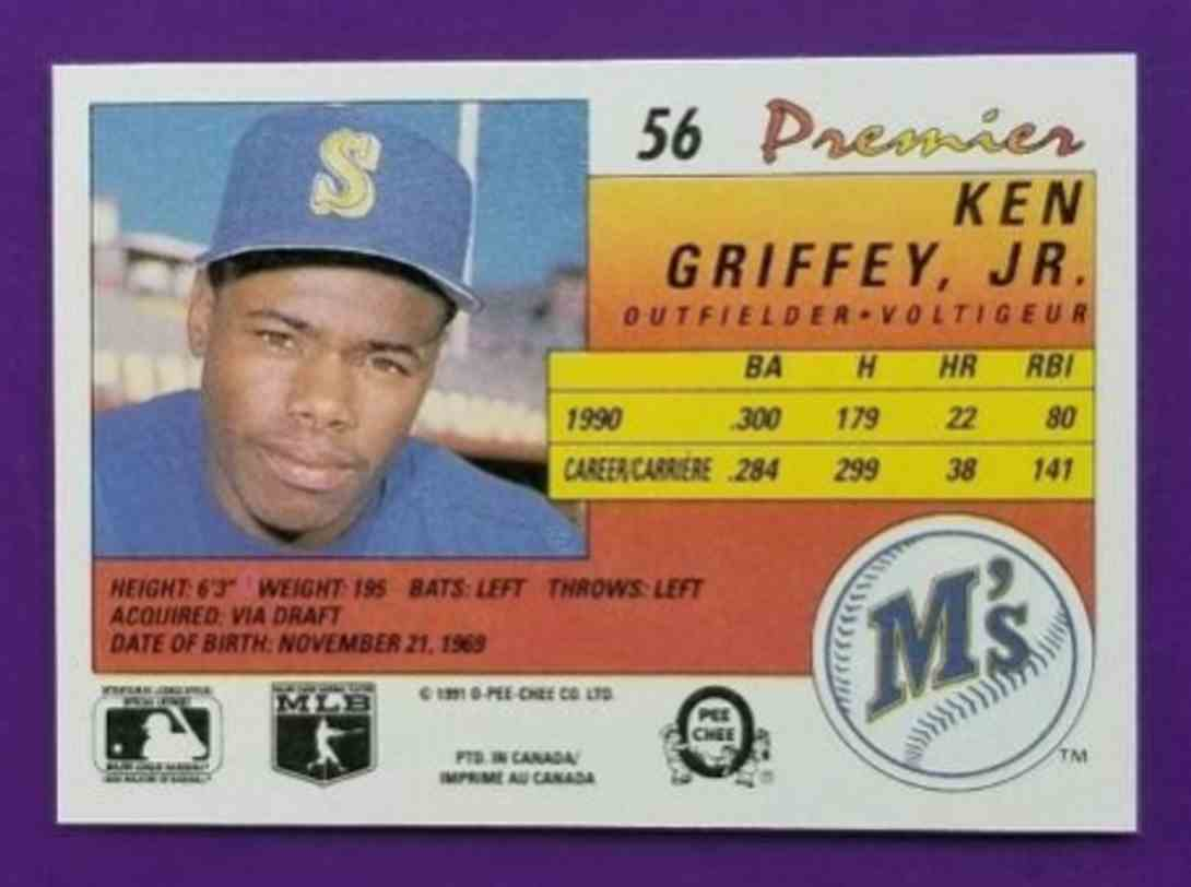 1991 O-Pee-Chee Premier Ken Griffey, JR. #56 card back image