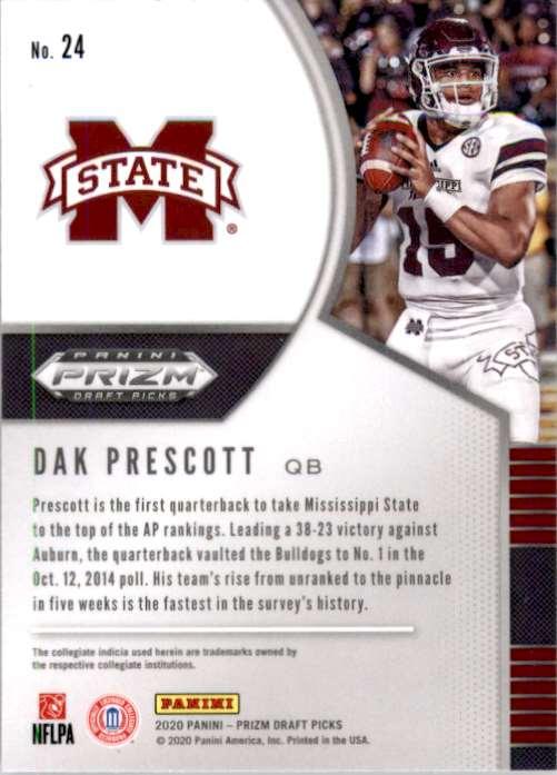 2020 Panini Prizm Draft Picks Dak Prescott #24 card back image